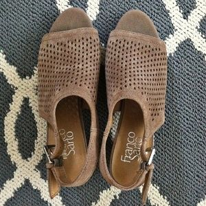 Brown Franco Sarto Perforated Sandals (NWT)